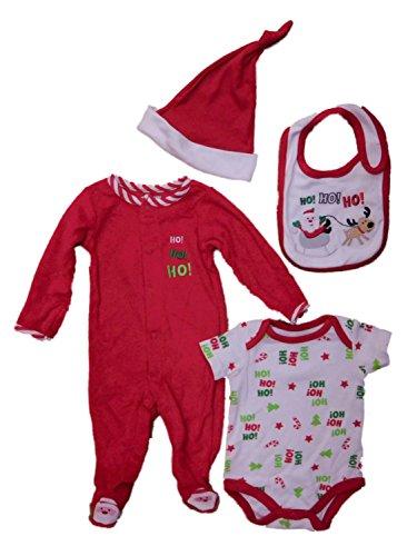Infant Boys Santa Claus Christmas Sleeper Bodysuit Hat & Bib Layette Set 0-3m Red/White