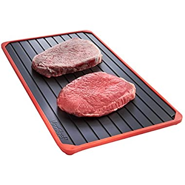 VonShef Magical Defrost Tray with Red Silicone Border & FREE Pop Up Food Cover - Thaws Frozen Food In Minutes!