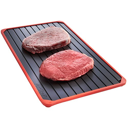 VonShef Defrosting Tray with Red Silicone Border Thaws Frozen Food Faster, Defrost Meat, Vegetables Quicker, No Electricity, No Chemicals, No Microwave (The Best Frozen Vegetables)