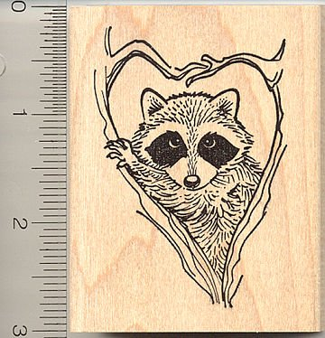 Raccoon in Heart-shaped Tree Branches Rubber Stamp - Wood Mounted