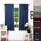 """Best Home Fashion Basic Thermal Insulated Blackout Curtains - Back Tab/Rod Pocket Grommet Top - Navy - 52""""W x 63""""L  No tie back (1 Panel)"""