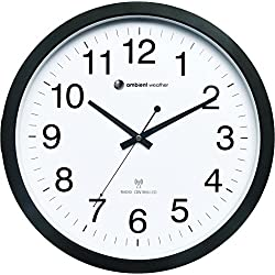 Ambient Weather RC-1400WB 14 Atomic Radio Controlled Wall Clock, White / Black