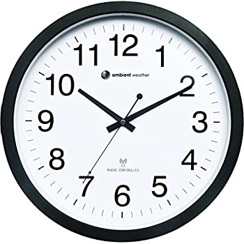 """Ambient Weather RC-1400WB 14"""" Atomic Radio Controlled Wall Clock, White / Black"""