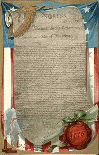- Declaration of Independence on Scroll, Flag Backdrop 4th of July Original Vintage Postcard
