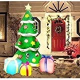 Joiedomi 7 Foot LED Light Up Giant Christmas Tree Inflatable with 3 Gift Wrapped Boxes Perfect for Blow Up Yard…