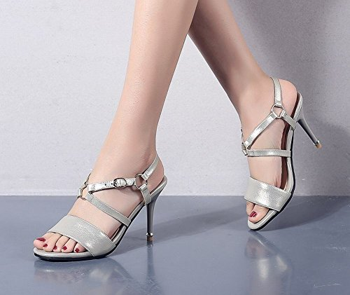 Mee Shoes Women's Sweet Stiletto Buckle Sandals Beige IuuqrLg