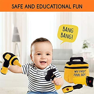 Toy Tool Set for Boys Handsaw /& Zippered Tool Box with Cool Sounds Soft Plush Toys Made from Durable /& Hypoallergenic Fabric Hand Drill Includes Cuddly Hammer Screwdriver