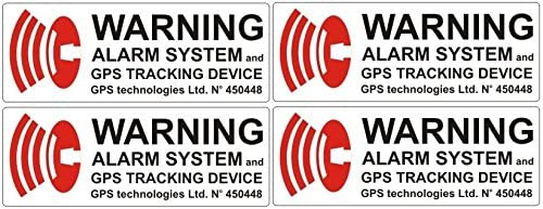 Norrun - Pegatinas con aviso de alarma por GPS (texto en inglés), 4 unidades