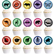 Wild Creature Power Cupcake Toppers for Fans Party Supplies Decorations,Set of 30Pcs.