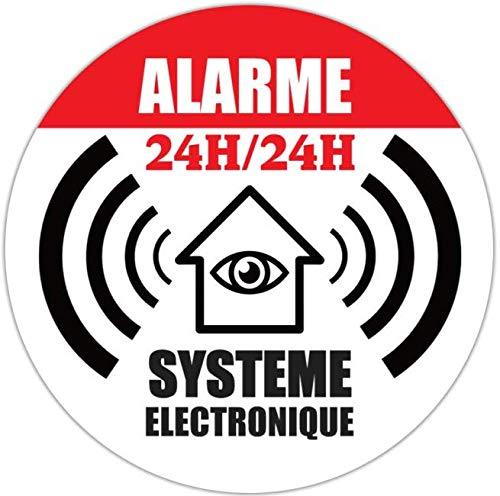 1x autocollant /Ø65mm de dissuasion maison sous alarme stickers
