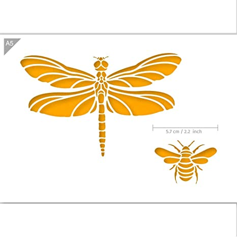 Bee Stencil Crafts Bugs Stencil QBIX Dragonfly Stencil A5 Size Baking Wall Furniture Reusable Kids Friendly DIY Stencil for Painting