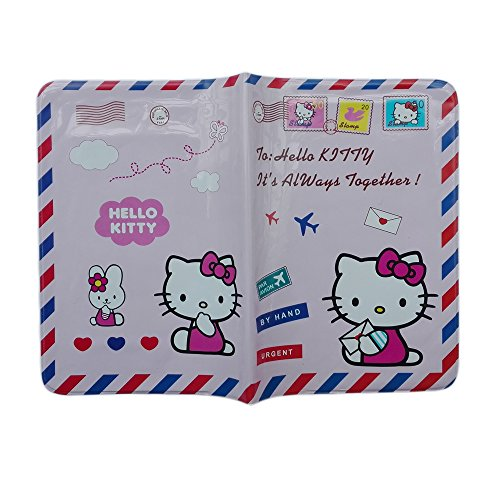 Winhappyhome Plastic Passport Cover ID Card Holder Case for Travel Abroad (Hello Kitty-pink)