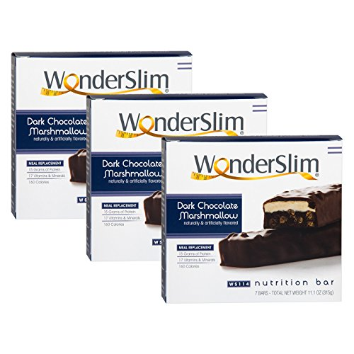 WonderSlim High Protein Meal Replacement Bar - High Fiber, Kosher, Choco Marshmallow - 3 Box Value-Pack (Save 5%) by WonderSlim (Image #2)