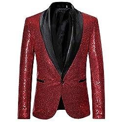 Men's Sequin One Button Blazer