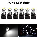Partsam 6PCS T5 37 70 Instrument Panel LED Light Gauge Cluster Dashboard Indicator Lamp Bulb with Twist Sockets for GMC Savana 1500 2500 3500 Yukon XL 1500, White