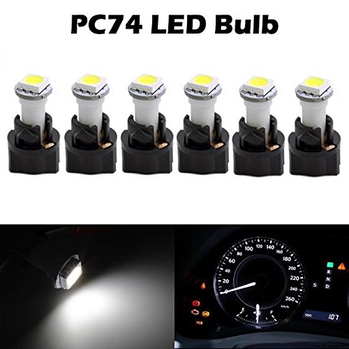 Partsam 6PCS T5 37 70 Instrument Panel LED Light Gauge Cluster Dashboard Indicator Lamp Bulb with Twist Sockets for GMC Savana 1500 2500 3500 Yukon XL 1500, White (2012 Mitsubishi Galant Dash Kit compare prices)