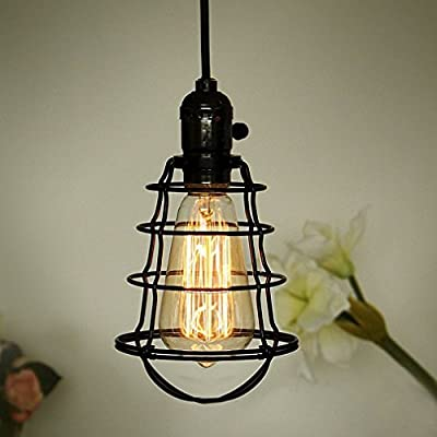 COOLWEST 1 Light Mini Vintage Edison Hanging Caged Pendant Light Fixture,Adjustable Black Cord