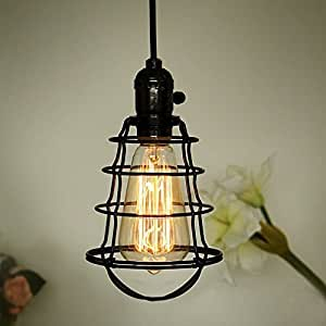 COOLWEST Mini Vintage Edison Hanging Caged Pendant Light Fixture - Black iron kitchen light fixtures