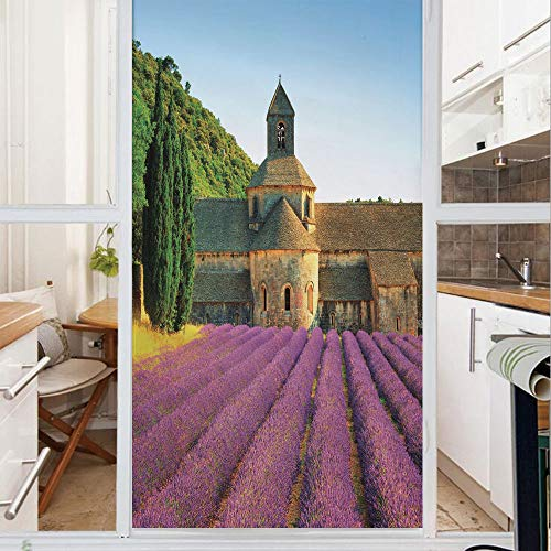 Decorative Window Film,No Glue Frosted Privacy Film,Stained Glass Door Film,Abbey of Senanque in France Architecture Countryside Blooming Rows Scenic,for Home & Office,23.6In. by 59In Tan Violet Green