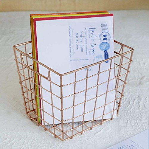 e Wire Basket for Storage Pantry/Wire Baskets Square/Wire Basket Organizer/Wire Mesh Baskets/Large Organizing Flower Girl Basket Stackable Bins (Copper Cube Collection) ()