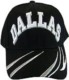 BVE Sports Novelties Dallas Men's Script & Stripes Adjustable Baseball Cap (Black)