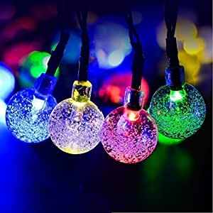 Outdoor Globe String Lights, 21.3ft 30 LED Solar Bubble Light String,Christmas Holiday Party Decoration Patio Garden Backyard Trees (4 pack, Multi Color)