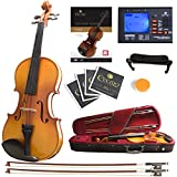 Mendini Size 3/4 MV400 Ebony Fitted Solid Wood Violin with Tuner, Lesson Book, 2 Bows, Shoulder Rest and Extra Strings