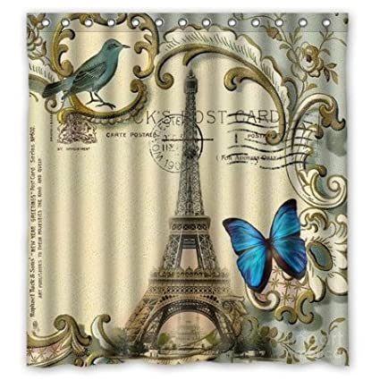 Image Unavailable Not Available For Color AshasdS Blue Butterfly Modern Paris Eiffel Tower Shower Curtain
