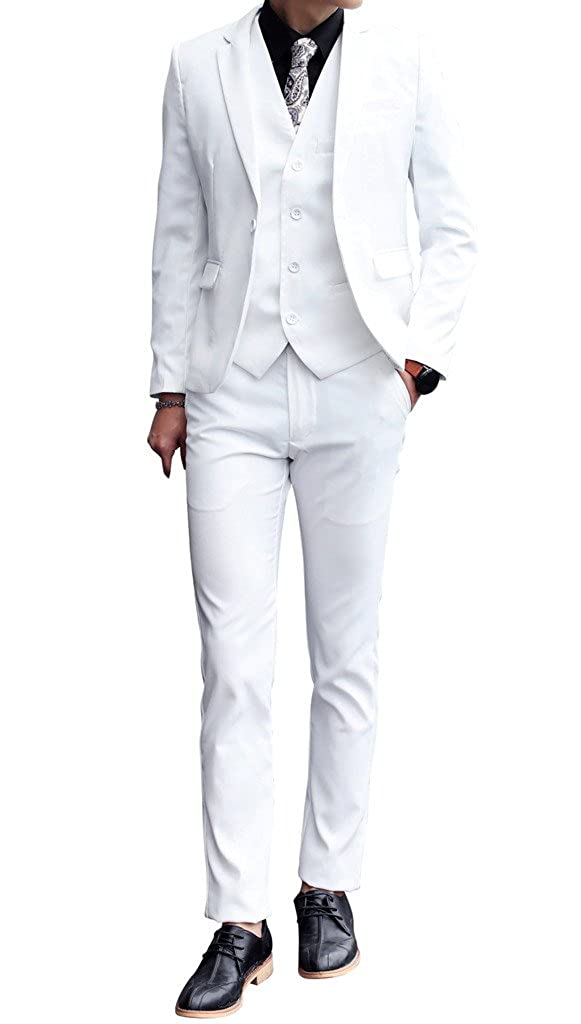 MOGU Mens 3 Piece White Dress Suit Set QT3002K522sets