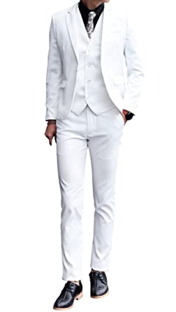 86ddbe55b91c MOGU Mens 3 Piece White Dress Suit Set at Amazon Men's Clothing store: