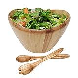 WELLAND 12'' Diameter Curved Bowl Acacia Wood Salad Bowls Salad Servers Set (style 2)