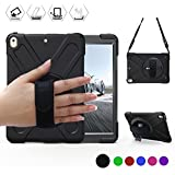 BRAECN iPad Pro 10.5 Case with 360 Degree Swivel Stand/Hand Strap and Shoulder Strap Case[Heavy Duty]Three Layer Ultra Hybrid Shockproof Full-Body Protective Case(No iPad 9.7 inch 2017) (Black)