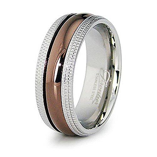 Espresso Plated Center - West Coast Jewelry 8mm Stainless Steel Espresso Plated Center with Milgrain Edges - Size 8