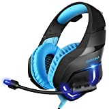 xbox 360 color cords - MillSO K1 Gaming Headset for PC, PS4, Xbox One, Stereo Over-Ear Noise Cancelling Headphones with Mic, LED Light, Soft Memory Earmuffs and Volume Control for Laptop Mac Nintendo Switch Games -- Blue