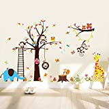Large Tree Wall STICKER4U Fun Animals in Africa/240 x 150 cm, Squirrel Owl Monkey Giraffe Elephant Butterflies Fox Bird Floral Baby Room Kids Nursery Wall Sticker Removable Wall Decoration Sticker
