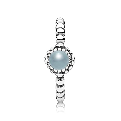 730c2091f Pandora Birthday Blooms March Aquamarine Ring 190854AQ-52: Amazon.co.uk:  Jewellery