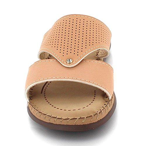 Kvinners Damene Beige Leiligheter Sandal Komfort Uformell Lette Aarz Super Størrelse Slip on London Slitasje Daglig Sko F5xSq
