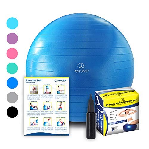 Exercise Ball - Professional Grade Anti-Burst Fitness, Balance Ball for Pilates, Yoga, Birthing, Stability Gym Workout Training and Physical Therapy (Blue, 55cm) ()