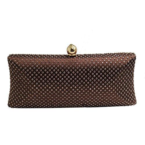 DMIX Womens Rhinestone Hard Box Clutches Evening Bags Brown Coffee (Jeweled Handbag Rhinestone)