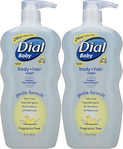 Dial Baby Body and Hair Wash, Ages 0-2, Fragrance Free, 24 Fl Ounce (Pack of 2) by Dial
