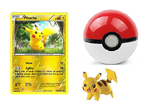 Pikachu Toy Figure, Poke Ball and Pokemon Card - Pikachu (48/162) - XY BREAKthrough - Reverse Holo.