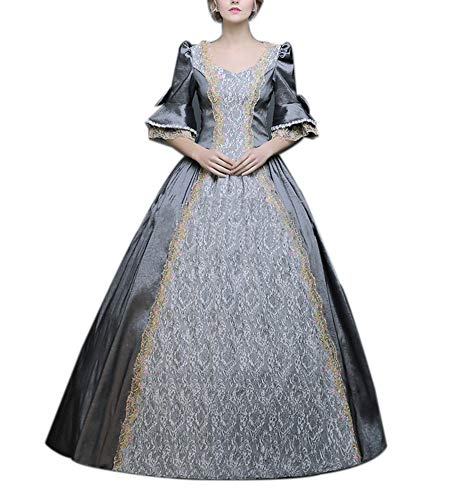 ROLECOS Womens Royal Retro Medieval Renaissance Dresses Lady Satin Masquerade Dress Grey L