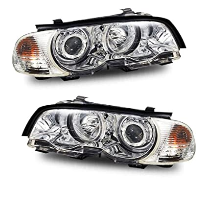 Sppc Chrome Projector Halo Headlights Assembly With Corner Light For Bmw 3 Series E46 M3 2 Door Pair Driver Left And Passenger Right Side
