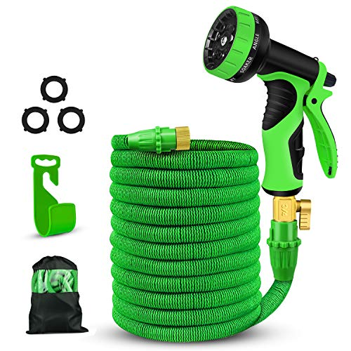 Expandable Garden Hose,50FT Water Hose-Latex Core,Extra Strength Textile,Solid Brass Fittings no Rust&Leak -9 Function Spray Nozzle,Hose Hanger-Best Flexible Expanding Hose for Watering Car(Green)