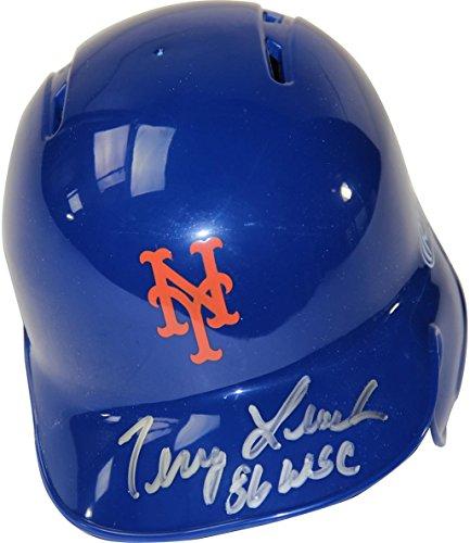MLB New York Mets Terry Leach Signed Mini Batting Helmet