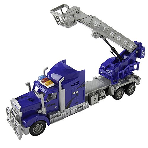 XmasToys Blue Remote Control Toy Big Rig Truck with Crane and Basket (Rig Blue)