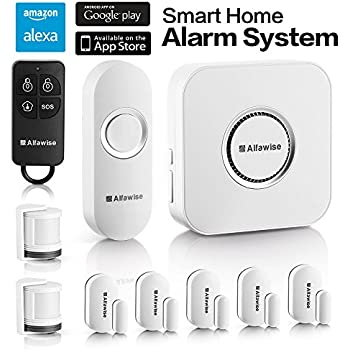 Alfawise Wireless Home Smart Security Alarm,Door and Window Alarm System 2.4G Wifi Alexa Compatible,5 Modes Control Burglar Alert For Home Shop Security with IP Camera Control by Smartphone