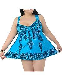 WEI QIU Women's Plus Size Swimdress Tribal Printed Beachwear with Shorts