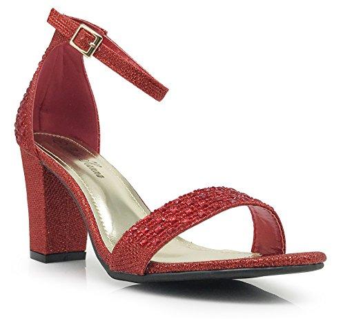 sexy da donna con lacci tacco largo alto Sandali cinturino alla caviglia scarpe