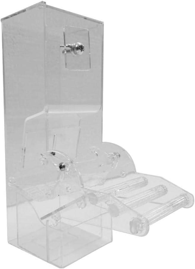 Duhe alimentador de Mascotas Dispositivo de alimentación de acrílico Loro automático – contenedor de Comida para pájaros Jaula Accesorios para Loro, Periquito, cacatúa, Canario